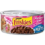 Purina 6 Cans of Friskies wet cat food 5.5oz ea (Prime Filets with Salmon & Beef in Sauce)