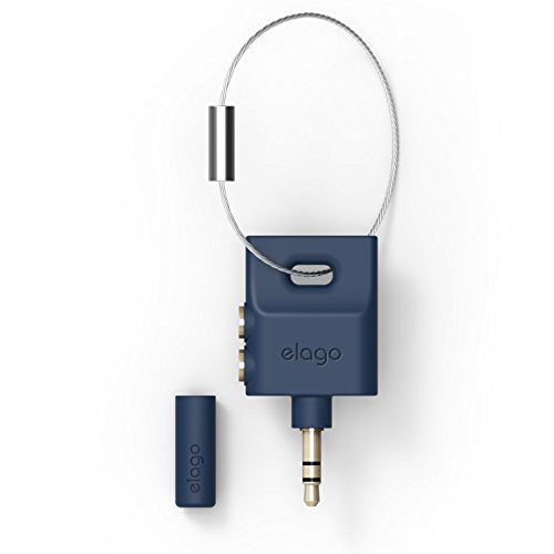 elago Keyring Headphone Splitter for iPhone, iPad, iPod, Galaxy and Any Portable Device with 3.5mm (Jean Indigo)