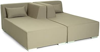 CONJUNTO DE EXTERIOR. Modelo MARBELLA. Tumbona tapizada para exterior en tejido de exterior.: Amazon.es: Hogar