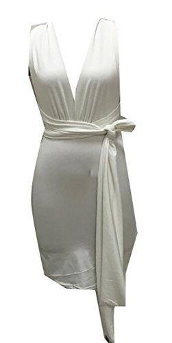Alion Womens Sexy Club Bodycon Nuit Partie Mini-robe Blanche