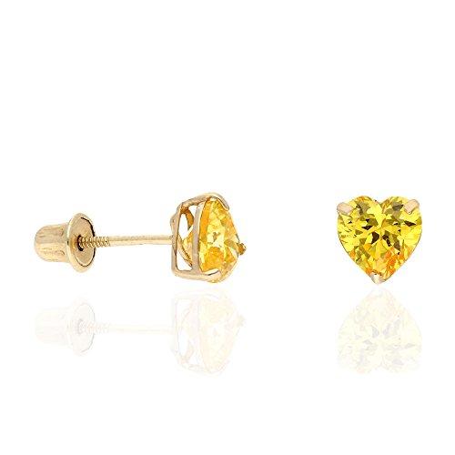 (14K Yellow Gold Birthstone Heart Screw Back Stud Earrings 5mm)