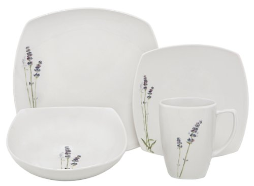 Melange Square 32-Piece Porcelain Dinnerware Set (Lavender) | Service for 8 | Microwave, Dishwasher & Oven Safe | Dinner Plate, Salad Plate, Soup Bowl & Mug (8 Each) by Melange