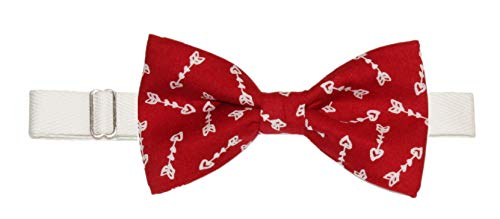 Men's Red White Cupid Arrows Pre-Tied Cotton Bow Tie On Adjustable Twill -