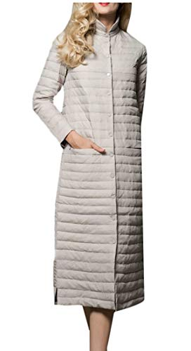 Neck Stand Casual EKU Button Grey Down Quilted Light Women's Parka Coat Jacket qEBUHTwt