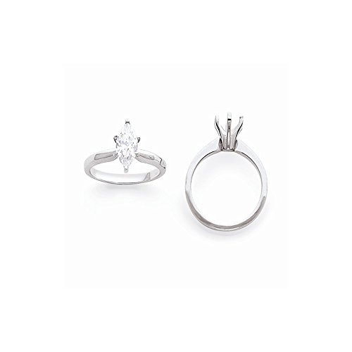 14k White Gold 1/2ct. Tulip-head Half-round Marquise Solitaire Semi-Mounting, No Center Stone ()