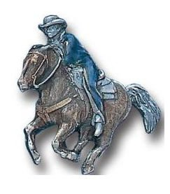 Pewter 3-D Collector Pin - Cowboy on Running Horse