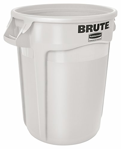l BRUTE Heavy-Duty Round Waste/Utility Container with Venting Channels, 32-gallon, White (FG263200WHT) (32 Gal Brute Waste Container)