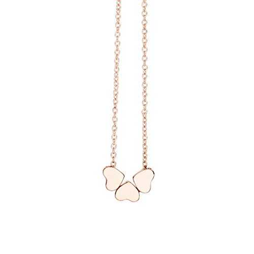 Anxinke Women Heart-shaped Stainless Steel Chain Pendant Necklace (Rose Gold)
