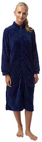 Lady Olga Soft Feel Embossed Fleece Nightwear in 3 Styles Zip Gown 3b89b8731