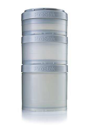 BlenderBottle C01730 pro stak ProStak Twist n Lock Storage Jars Expansion 3-Pak with Pill Tray, Pebble Grey