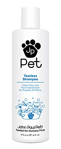 John Paul Pet Tearless Odor Absorbing Shampoo, Clean and Fresh Low PH Formula for Puppies, Dogs, Kittens and Cats, 16-Ounce