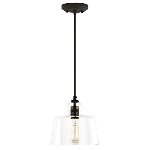 Light Society Tripoli Pendant Light, Oil Rubbed Bronze with Handblown Clear Glass Shade, Vintage Industrial Modern Lighting Fixture (LS-C247-ORB) by Light Society (Image #1)'