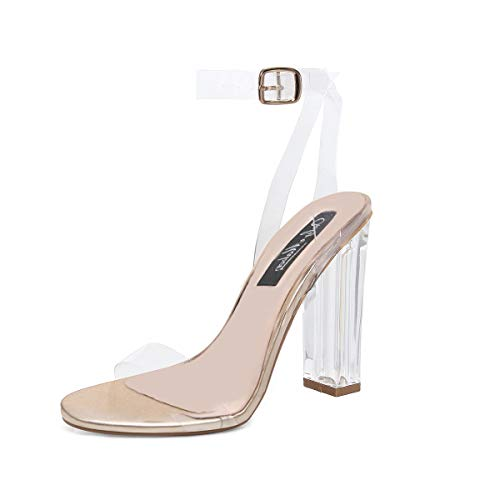 Picture of onlymaker Women's Lucite Clear Ankle Strap Adjustable Buckle Block Chunky Perspex High Heel Transparent Dress Sandals