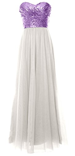 Gown Formal Bridesmaid Long Ivory MACloth Wedding Lavender Sequin Party Strapless Dress Women aTqqngz