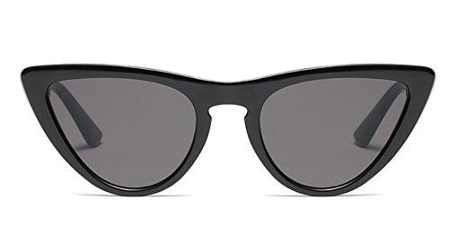 Freckles Mark Thin Narrow Skinny Plastic Semi Cat Eye Triangle Women Sunglasses (Black, - Sunglasses Black Thin