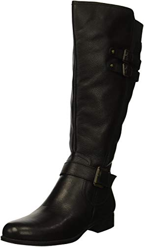 Leather Large Calf (Naturalizer Women's Jessie Wide Calf Knee High Boot, Black wc, 9 W US)