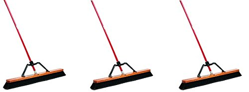 Libman Commercial 850 Smooth Surface Heavy Duty Push Broom, 62'' Length, 36'' Width, Black/Red (Pack of 3) (3-(Pack)) by  (Image #2)