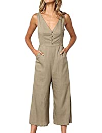 b5fc7feff6a8 Womens Jumpsuits Casual Button Deep V Neck Sleeveless High Waist Wide Leg Jumpsuit  Rompers with Pockets