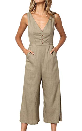 ECOWISH Womens Jumpsuits Casual Button Deep V Neck Sleeveless High Waist Wide Leg Jumpsuit Rompers with Pockets 103 Khaki XL