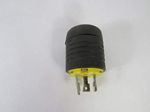 Pass & Seymour L630-P 3 Wire 2 Pole Polarized Industrial Specification Grade Locking Plug 250 Volt 3-Phase 30 Amp NEMA L6-30P Black/White ()