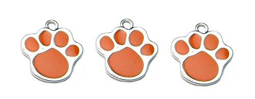 PlanetZia 8pcs Tiger Paw Print Charms with Orange