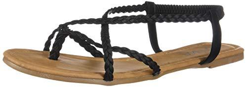 ANNA Women's Braided Strappy Gladiator Flat Sandal Y-Strap Thing Flip Flop Sandals Black ()