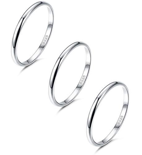 - JOERICA 3 PCS Sterling Silver Band Rings for Women Girls 5