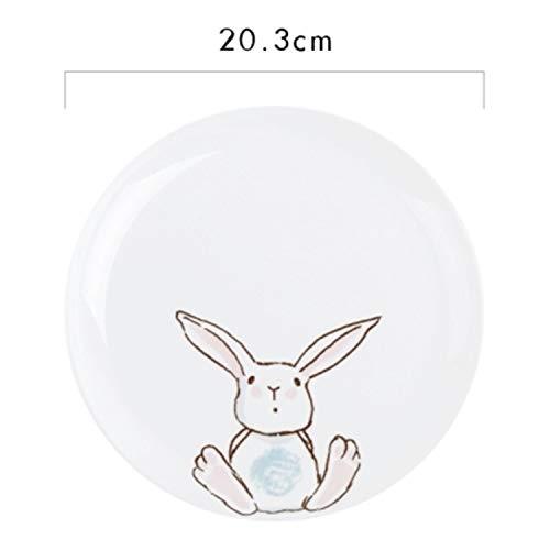 1PC 8 Inch Ceramic Dinner Plate Rabbit Animal Dishes Pasta Steak Dessert Plates Fine Bone Kitchenware C -