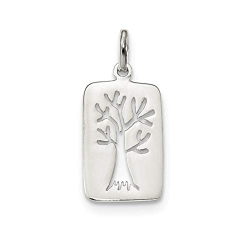 (Solid .925 Sterling Silver Rhodium-plated Polished Tree Cut-out Charm 26.9 mm)