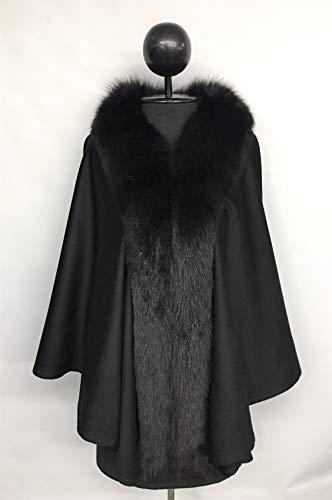 Black Loro Piana Cashmere Fox Trim Cape ()