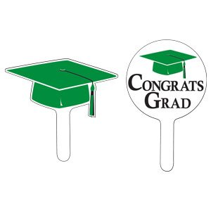 Creative Converting 24 Count Graduation Cap/Congrats Grad Cupcake Picks, Green