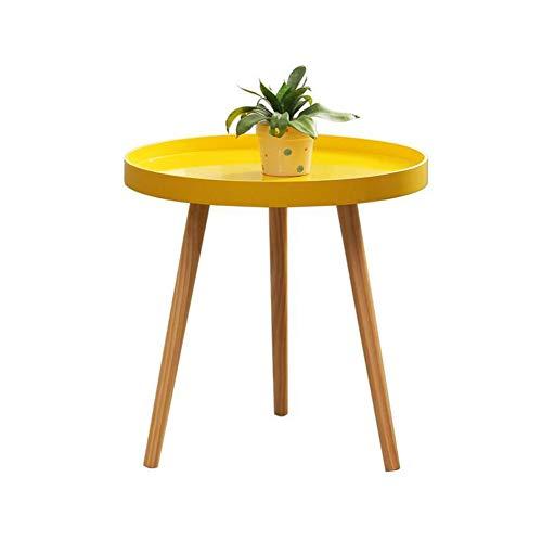 DQMSB Small Round Table, Mini Side, Several Rounds, Round Coffee Table, Nordic Small Coffee Table, Yellow, Pine Legs ()