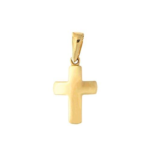 Beauniq 14k Yellow Gold Small Block Cross Pendant Necklace, Pendant only ()