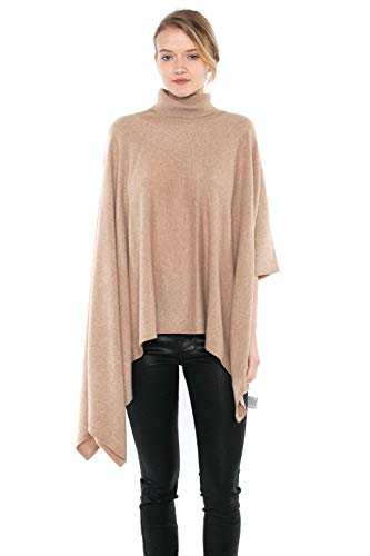 (J CASHMERE Women's 100% Pure Cashmere Cowl-Neck Asymmetric Poncho Sweater (M, Camel))