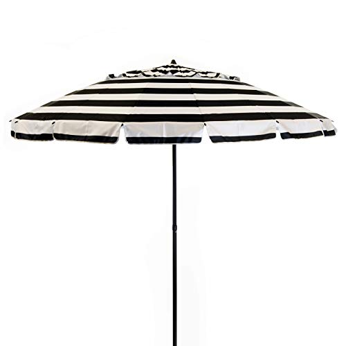 DestinationGear Heininger 1435 8 ft Black and White Stripe Deluxe Beach and Patio Umbrella with Carry Bag