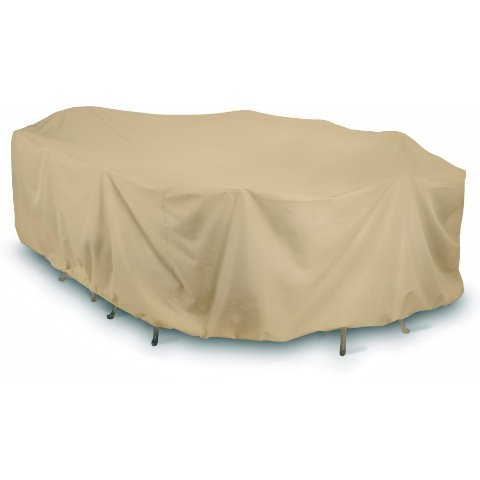 Two Dogs Designs Home and Garden 2D-PF144845 Oval and Rectangle Table Set Cover with Level 4 UV Protection, 144-Inch, Khaki