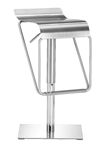- Zuo Modern 300193 Dazzer Barstool in Brushed Stainless Steel Finish, Most durable and easy to maintain metals around, 100% adjustable barstool, Fall in love with the curvaceous seat and sturdy base, 250 lbs. weight capacity