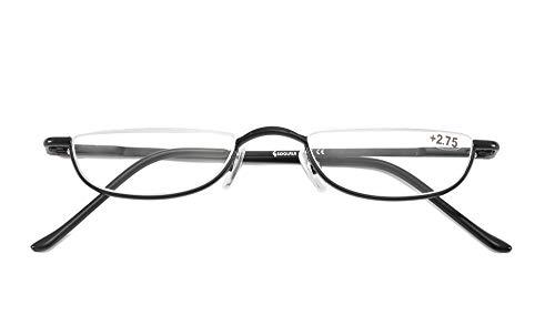 SOOLALA Vintage Designer Alloy Flat Top Half Frame Stylish Slim Reading Glasses, BlackGun, 1.0
