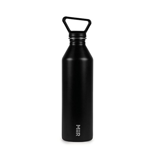 MiiR Classic Stainless Steel Water Bottle Single Wall and Leakproof, Black, 27oz