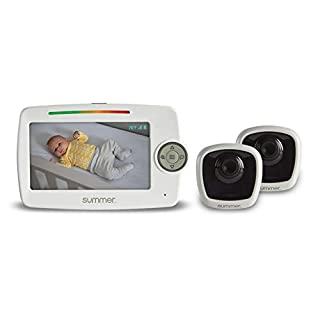 "Summer Lookout Duo 5"" LCD Video Baby Monitor (2 Cameras) – Digital Zoom Baby Monitor with 1,000ft Range – Features Two-Way Audio, Automatic Night Vision, Temperature Display, and No-Hole Wall Mount"