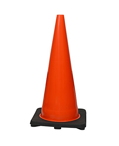 (8 Cones) CJ Safety 28'' Height Orange PVC Traffic Safety Cones With Black Base - No Reflective Collars (Set of 8) by CJ Safety