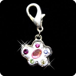PURELY CHARMING Enameled Pet Charm / Pendant with Handset Swarovski Crystals - Multi-stone -