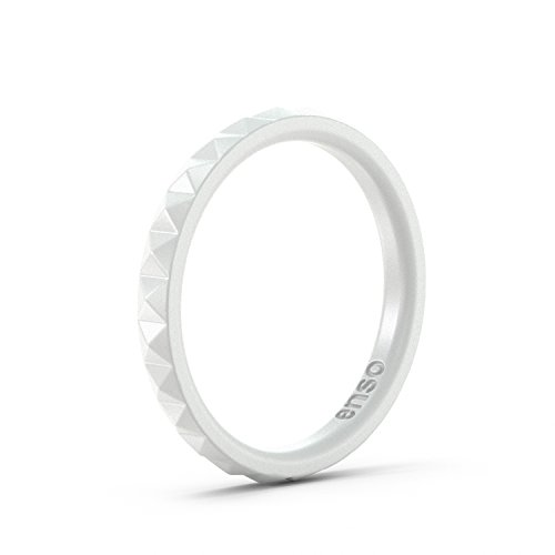 Enso Womens Stackable Silicone Rings White. Size: 6 (Best Month To Visit Kauai)