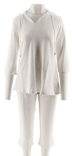 Belle Kim Gravel Essentials Hooded Top Capri Pants Set White M New A291191