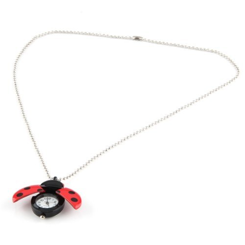 Gleader Red Ladybug Necklace Pendant Clock Watch - Ladybug Necklace Watch