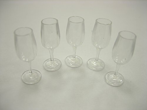 5 Acrylic Wine Glass Dollhouse Miniatures Accessories