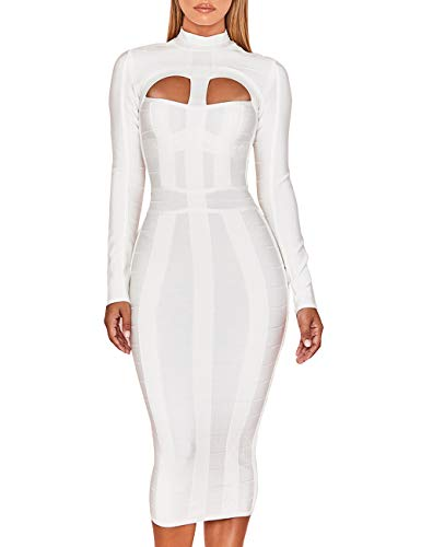 Whoinshop Women's Cut Out Long Sleeve Party Bandage Dress Clubwear Midi White XL