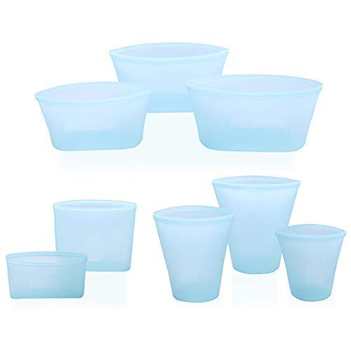 Reusable Silicone Food Bag, Zip Lock Leakproof Containers BPA Free Zip lock Food Storage Preservation Bag for Fruits Vegetables Snacks Microwave Dishwasher & Freezer Safe (8Pcs Set(Blue))