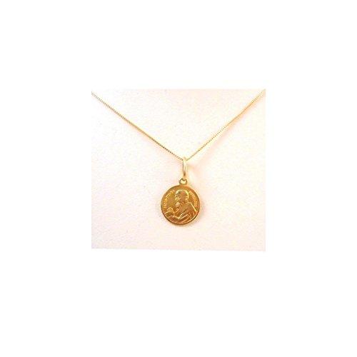 Collier en 18 KT pendentif or jaune avec PADRE PIO - Oro giallo 18 kt