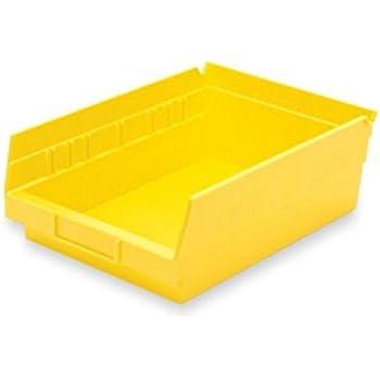 Akro-Mils 30150YELLO Plastic Nesting Shelf Bin Box, 12 x 8 x 4-Inch, Yellow, Case of 12